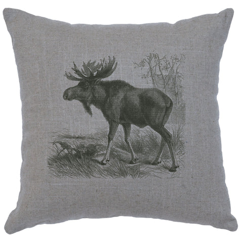 Moose Scene Decorative Linen Pillow Wooded River - Unique Linens Online