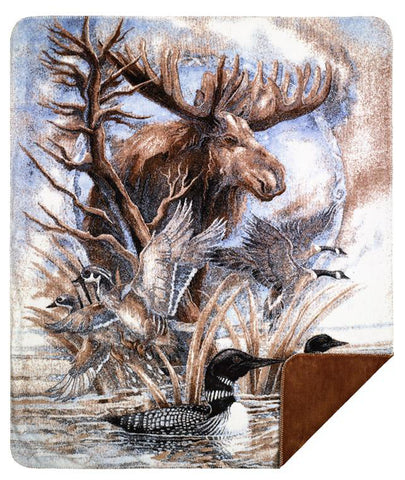 Moose-Sometimes I'm By Myself but I'm Never a Loon Denali Blanket - unique linens online