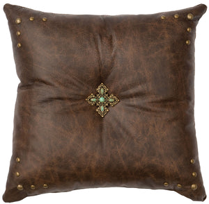 Leather Pillow Wooded River WD80242 - unique linens online