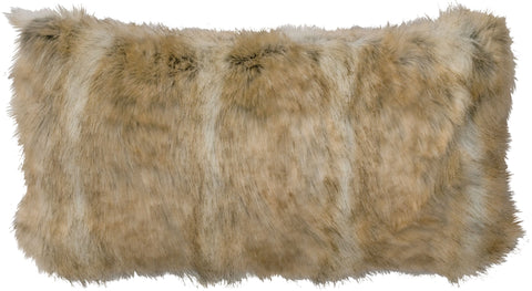 Canadian Stone Fox Faux Fur Pillow Wooded River - unique linens online
