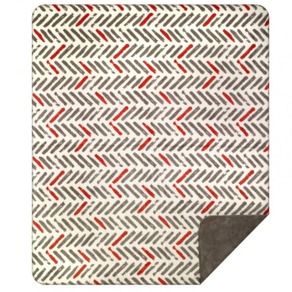 Orange & Gray Tracks Denali Blanket - unique linens online