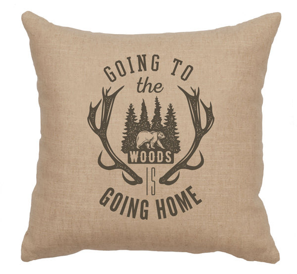 Going to the Woods Pillow Wooded River - unique linens online