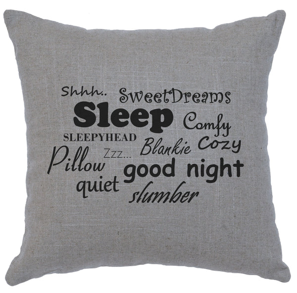 Sleep Words Decorative Linen Pillow Wooded River - Unique Linens Online