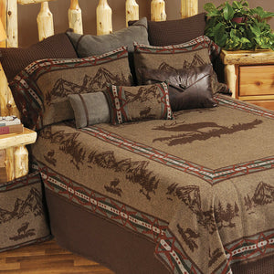 Rocky Mountain Elk Bedspread Wooded River - unique linens online