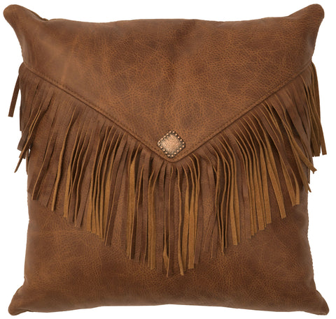 Leather Pillow Wooded River WD80244 - unique linens online