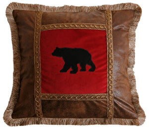 Adirondack Bear Applique Square Pillow Carstens - unique linens online