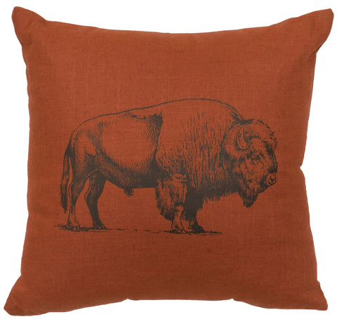 Linen Bison Pillow Wooded River - Unique Linens Online