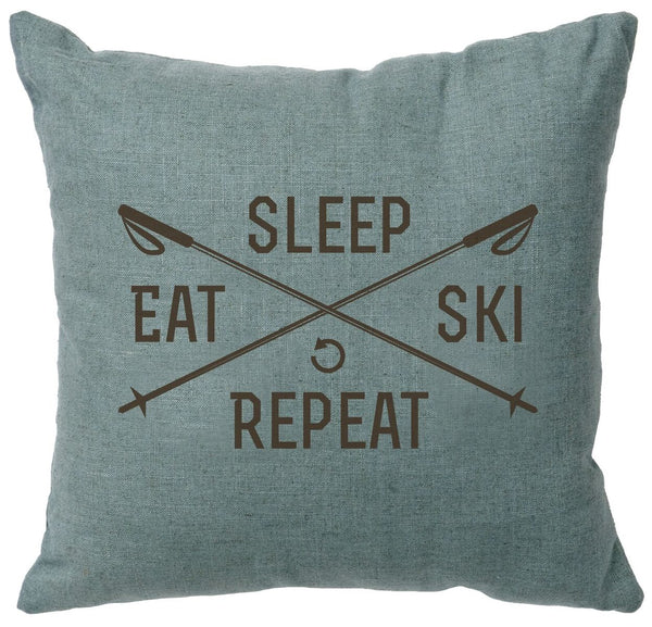 Sleep, Eat, Ski, Repeat Decorative Linen Pillow Wooded River - unique linens online