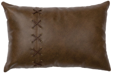Leather Pillow Wooded River WD80240 - unique linens online