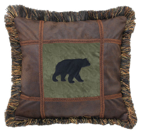 Autumn Trails Bear on Pine Pillow Carstens - unique linens online