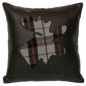 Ponderosa Plaid Moose Pillow Wooded River - unique linens online
