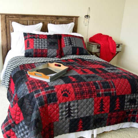 Red Forest Cotton Quilt Set