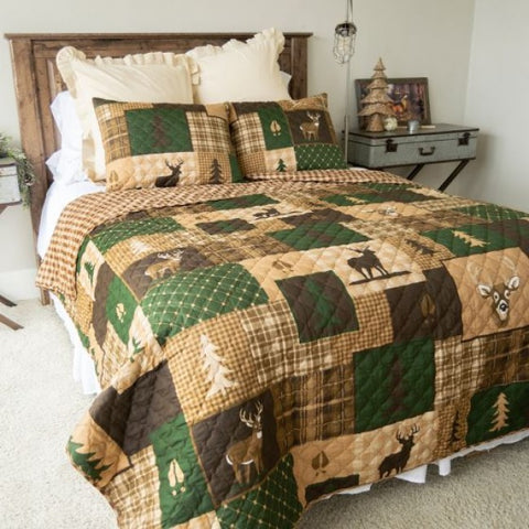 Green Forest Cotton Quilt Set - unique linens online