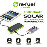 15,000mAh Solar Portable Charger (IPX4 Waterproof)