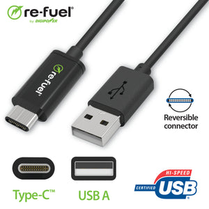 6ft - USB-A to Type-C Cable (3A/15Watt)