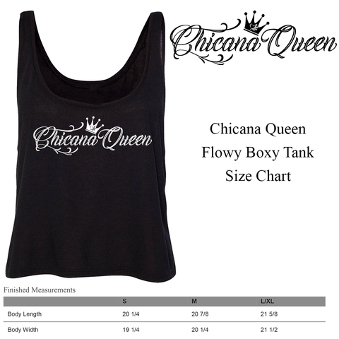 Size Chart - Chicana Queen Flowy Cropped Tank
