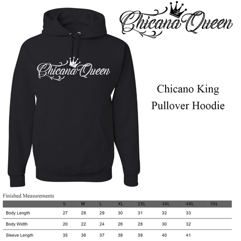 Chicana Queen Pullover Hoodie Size Chart