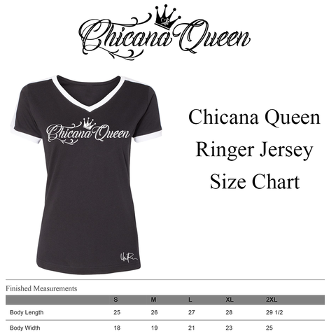 Chicana Queen Ringer Jersey - Size Chart