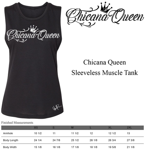 Size Chart - Chicana Queen Sleeveless Muscle Tank
