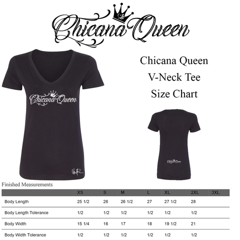 Size Chart - Chicana Queen V-Neck Tee