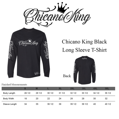 Chicano King Classic Long Sleeve T-Shirt - Size Chart