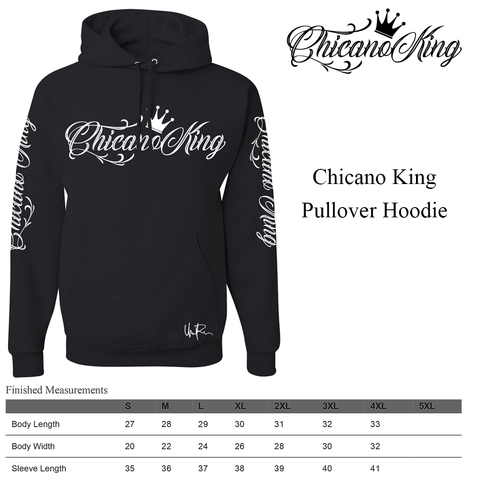 Size Chart - Chicano King Pullover Hoodie