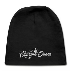 Chicana Queen Cotton Baby Cap - Black
