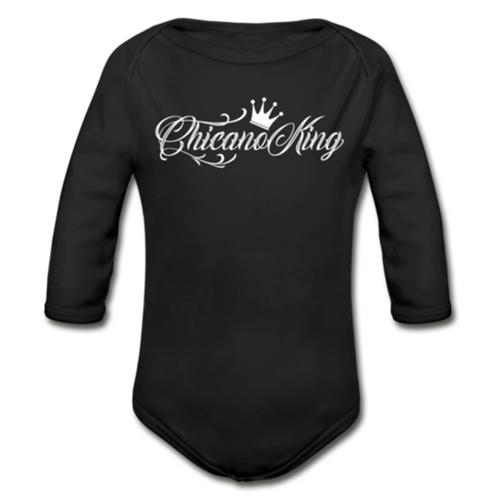 Baby Chicano King Organic Long Sleeve Onesie - Black