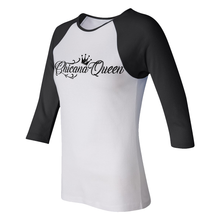 Load image into Gallery viewer, Chicana Queen Women's 3/4 Sleeve Baseball Tee Black Side