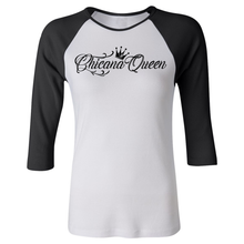 Load image into Gallery viewer, Chicana Queen Women's 3/4 Sleeve Baseball Tee Black