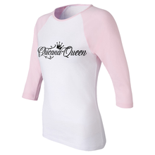 Load image into Gallery viewer, Chicana Queen Women's 3/4 Sleeve Baseball Tee Pink Side