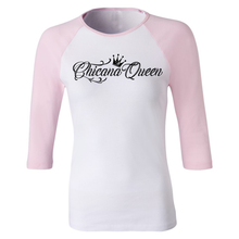 Load image into Gallery viewer, Chicana Queen Women's 3/4 Sleeve Baseball Tee Pink