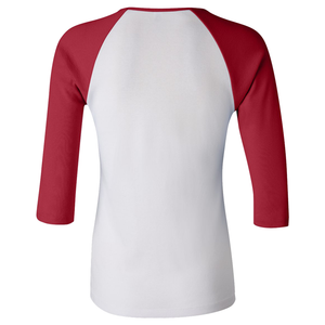 Chicana Queen Women's 3/4 Sleeve Baseball Tee Red Back
