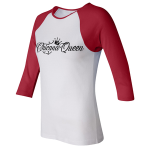 Chicana Queen Women's 3/4 Sleeve Baseball Tee Red Side
