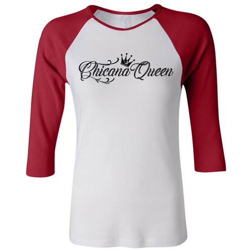Chicana Queen Women's 3/4 Sleeve Baseball Tee Red