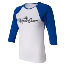 Load image into Gallery viewer, Chicana Queen Women's 3/4 Sleeve Baseball Tee Blue Side