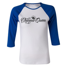 Load image into Gallery viewer, Chicana Queen Women's 3/4 Sleeve Baseball Tee Blue