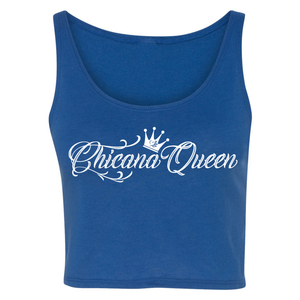 Chicana Queen Cropped Tank Blue