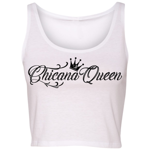 Chicana Queen Cropped Tank White