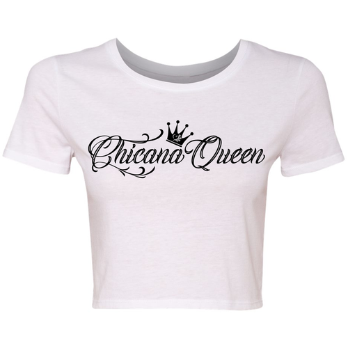 Chicana Queen Crop Top White