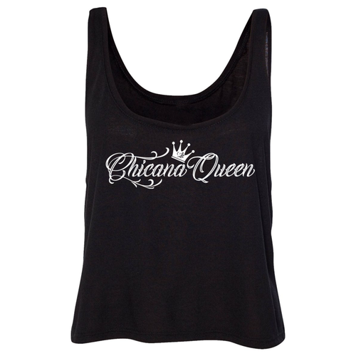 Chicana Queen Flowy Boxy Tank Top Black