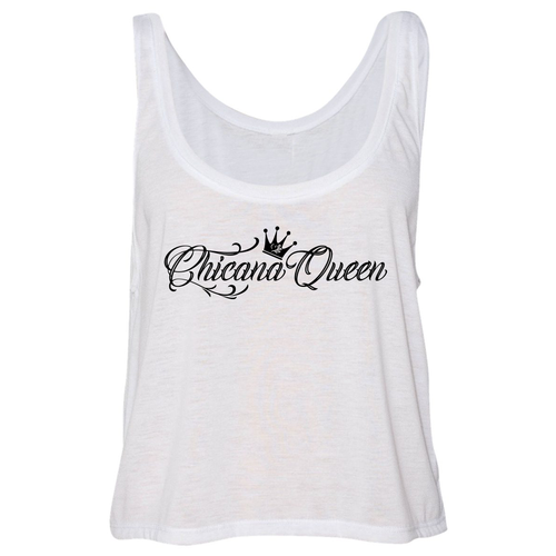 Chicana Queen Flowy Boxy Tank Top White
