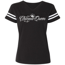 Load image into Gallery viewer, Chicana Queen Women's Football T-Shirt Black Front