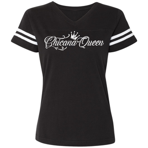 Chicana Queen Women's Football T-Shirt Black Front