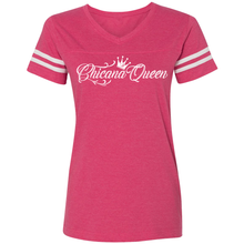 Load image into Gallery viewer, Chicana Queen Women's Football T-Shirt Pink Front