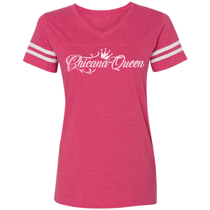 Chicana Queen Women's Football T-Shirt Pink Front