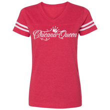 Load image into Gallery viewer, Chicana Queen Women's Football T-Shirt Red Front
