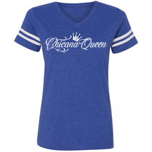 Load image into Gallery viewer, Chicana Queen Women's Football T-Shirt Blue Front