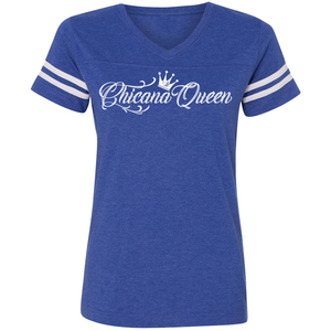 Chicana Queen Women's Football T-Shirt Blue Front