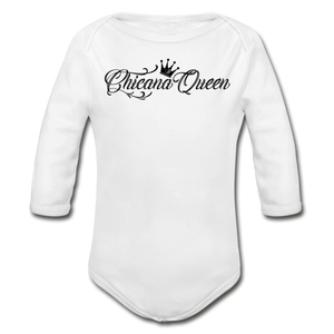 Chicana Queen Onsie - BLACK LOGO - white